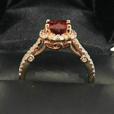 Hand Carved 2.5 Ct Red Ruby Diamond Halo Band Ring Women Engagement Jewelry Gift