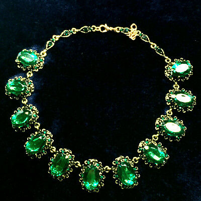 38 CT Green Emerald Oval Cut Statement Necklace Yellow Gold Fashion Jewelry