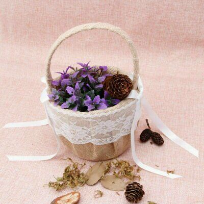 Romantic Burlap Jute Lace Wedding Flower Girl Basket Vintage Flower Basket