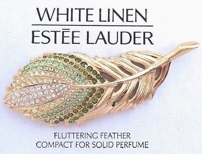 ESTEE LAUDER FLUTTERING FEATHER COMPACT w WHITE LINEN SOLID PERFUME ORIG BOXES