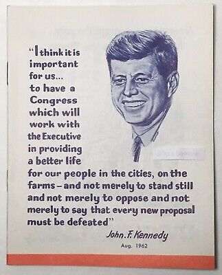 John F Kennedy 1962 Midterm Campaign UAW Election Guide Pamphlet