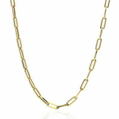 """14K Yellow Gold 4mm Paperclip Elongated Open Chain Necklace 16"""" - 30"""""""