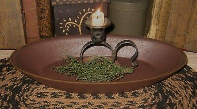 Wood Dough/Candle BOWL*BURGUNDY*Primitive/French Country Farmhouse Kitchen Decor