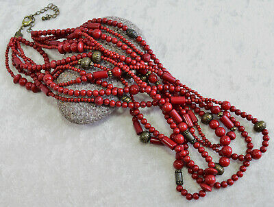 e963ca646 Premier Designs IMPULSE Multi Strand Red Beaded Antique Brass Beads Necklace  $55