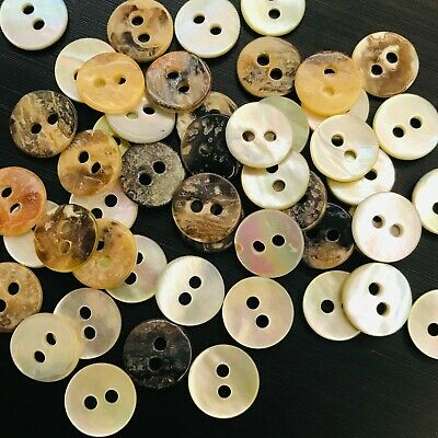 """Real Shell Button Lot 30 18L 7//16/"""" 11.4mm 2H Natural Grey Mother of Pearl MOP"""