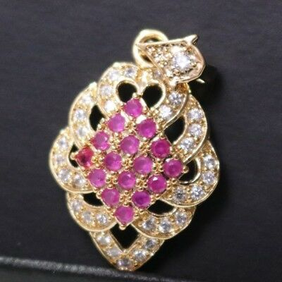4 Ct Red Ruby Pendant Diamond Paved Charm Enhancer Wedding Jewelry Gift YR53