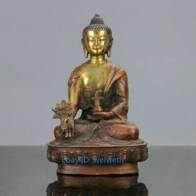 Old Chinese Brass Gilt Hand Carved Dragon Buddhism Pharmacist Buddha Statue