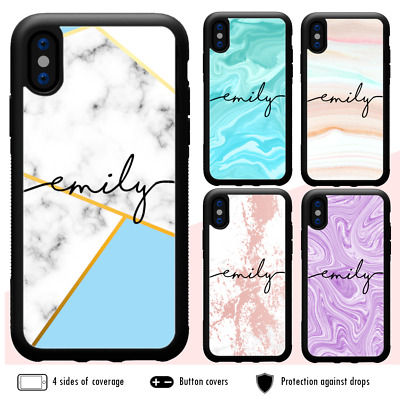 iPhone 11 Pro Max XS X 8 7 6 Plus SE Shockproof Case Marble XI Personalised Name