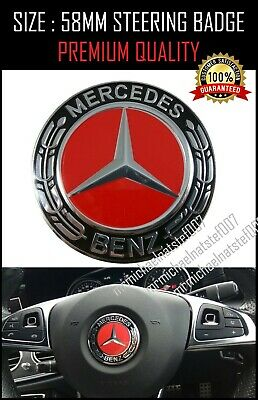 For Mercedes Benz RED BLK Steering Wheel Badge Emblem Size: 58mm Fits A C E CLA