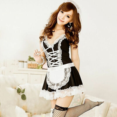 ef813a21c0d2 French maid waitress fancy dress costume servant outfit hen party Cosplay  Set