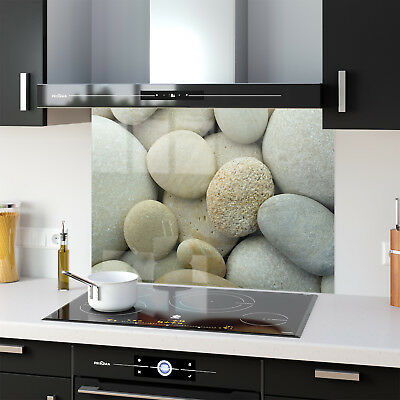 Printed Kitchen Glass Splashback Cooker ANY SIZE Round Smooth Stones Pebble 0092