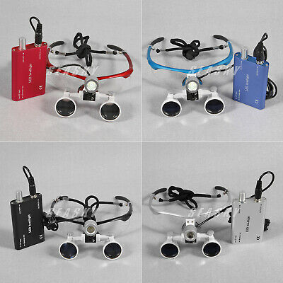 3.5x420m Dental Surgical Binocular Loupes Glasses + LED Head Light Lamp UK