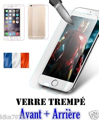 Vitre Film Protection Verre Trempé AVANT +ARRIERE iPhone 4/5/6/7/S/Plus !
