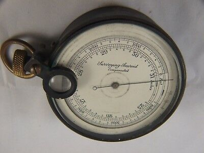 Antique  Brass Surveying Aneroid Compensated Instrument w Case Made England Rare