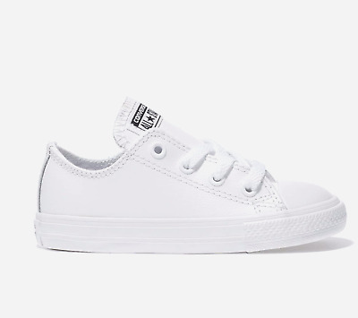 Converse Toddlers/Infants Trainer Leather White Mono Size 2,3,4,5,6,7,8,9,10.