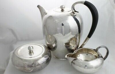 Vintage Georg Jensen Sterling Silver Coffee Pot #787, Creamer And Sugar Bowl
