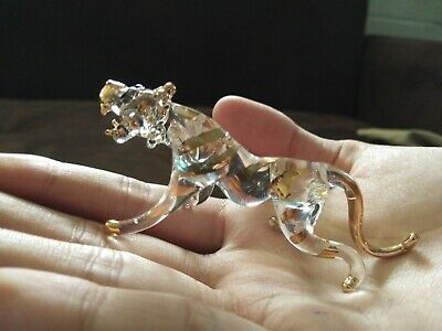 1Pc.Tiger Figurine Hand Blown Blowing Glass Art Animal Miniature Collectible