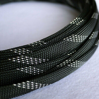Black&Silver 3-25mm Braided Cable Sleeving/Sheathing - PET Auto Wire Harnessing