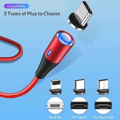 TOPK Braided Magnetic Micro USB Type-C 8 Pin 3A Charge Cable for iPhone Android