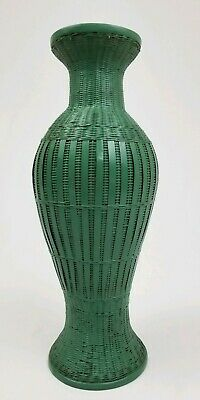 Vintage Wicker Rattan Floral Vase Sage Green Bohemian style 13""