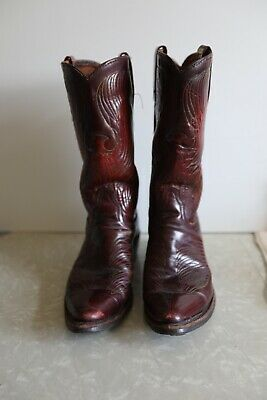 6c3cb62434eb4 VINTAGE RED LEATHER Tall 6/7? (UNKNOWN) Women's Western Boots ...