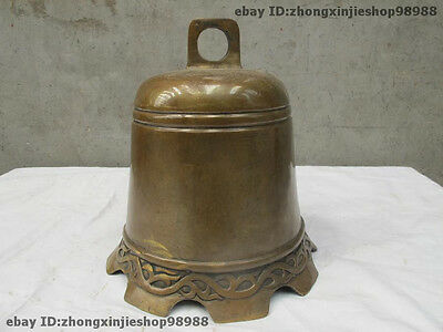 """10""""Chinese Folk old Copper Bronze Buddhism Temple Hanging Flat Bell statues"""