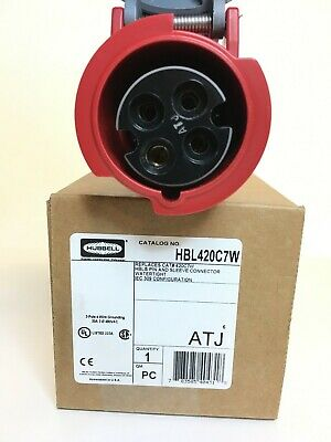 HUBBELL WIRING DEVICE-KELLEMS HBL420C7W IEC Pin and Sleeve Connector,20A,480V
