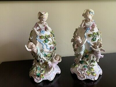 "Pair Of Porcelain Capodimonte Depose Pieces With Cherubs 12"" By 6"""