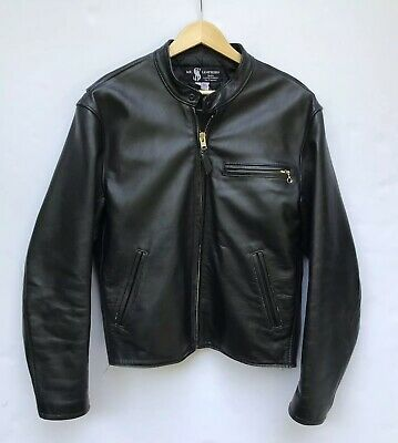 Mr. S. Leather Jacket Cafe Racer Motorcycle Mens Sz 46 XL Black San Francisco