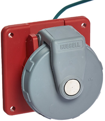 HUBBELL WIRING DEVICE-KELLEMS HBL420R7W IEC Pin and Sleeve Receptacle,20A,480V