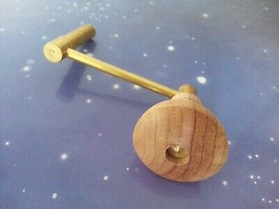 Size 12 Grandfather Clock Crank Winder Winding Key Antique Vintage Wooden Handle