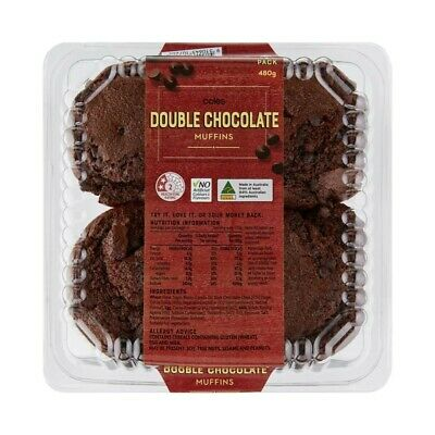 Coles Double Chocolate Muffins 4 Pack 480g