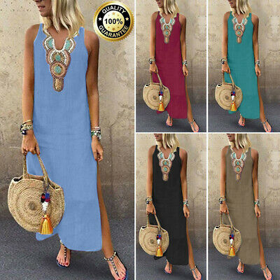b7bff6b06ff7c Summer Womens Boho Cotton Linen Sleeveless V-neck Baggy Kaftan Long Maxi  Dress