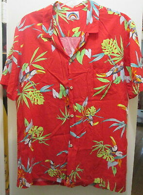 33909693 Paradise Found Mens Hawaiian Shirt Large Red Tropical Birds Parrot AS IS