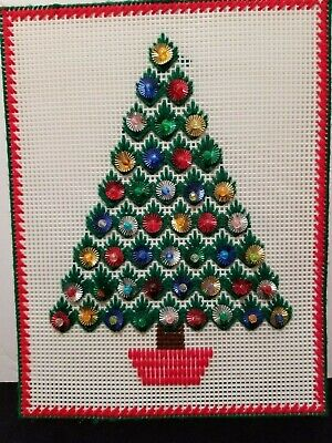 Rare Vintage Handmade Crochet Christmas Tree On Plastic Canvas Wall