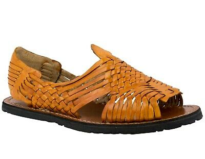 Men Orange Sandals Mexican Huaraches Authentic Leather Handmade Slip On Open Toe