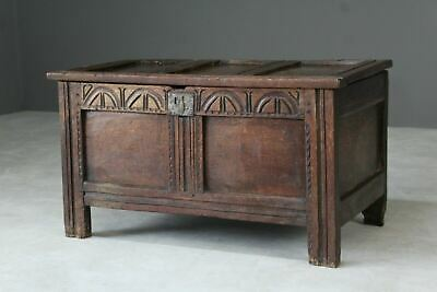 Antique Rustic 18th Century Oak Chest Coffer Box Trunk Storage Blanket Bedroom