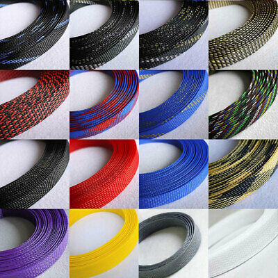 16mm Braided Cable Sleeving/Sheathing Auto Wire Harnessing Sleeve PET Colourful