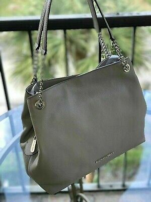 052b6e21e72658 New Michael Kors Large Chain Shoulder Tote Bag Pebbled Leather In Pearl Grey