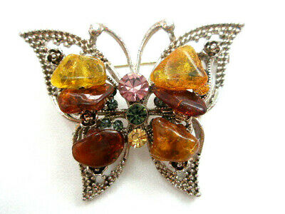 Brooche With  Baltic Amber - Butterflay
