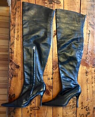 WOMENS COLIN STUART BLACK LEATHER THIGH HIGH HEELS BOOTS Victoria Secret SZ 8.5