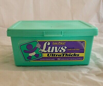 Vintage 1998 Luvs Ultra Thick Diaper Wipes Wipe Container RARE Prop Staging #16