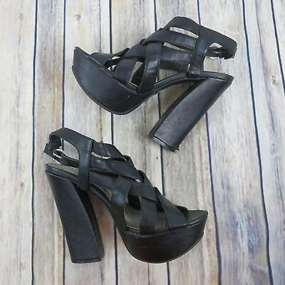 d3f74ea32d Bamboo 90s Style Chunky Platform Nanette Heels 7.5 Black Strappy Sandals