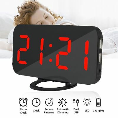Dual USB Digital LED Clock Snooze Mirror Alarm Clock Time Night Mode Red Large R