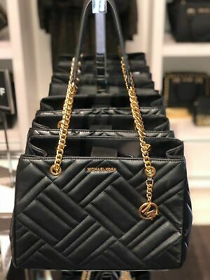 d108e8910162 Michael Kors Vivianne Large Quilted Leather Tote Shoulder Bag In Black Gold  Tone