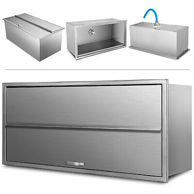 "Drop In Cooler Fully Insulated 36""X 18""X14"" Ice Chest with Cover Stainless Steel"