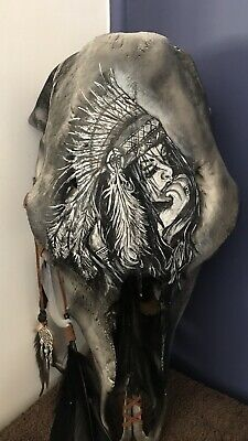 Air Brushed , Hand Painted Real Cow Skull One Of A Kind