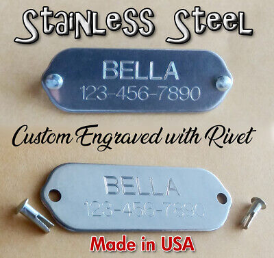 Custom Engraved Stainless Steel Name Plate Pet ID Tags w/ Rivet for Dog Collars