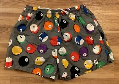 VTG 80's 90's Mossimo Pool Ball Print Shorts Large Surf Beach Swim Pattern USA