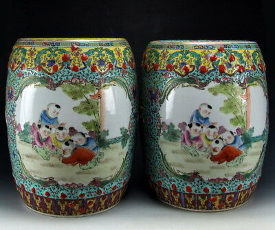 Amazing China Antiques Pair of Famille Rose Porcelain Garden Stools Playing Boys